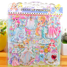 8 Sheets 3D Stickers Cartoon Dress up Stickers Fashion Kids Children Girls PVC Stickers Bubble Stickers Toy