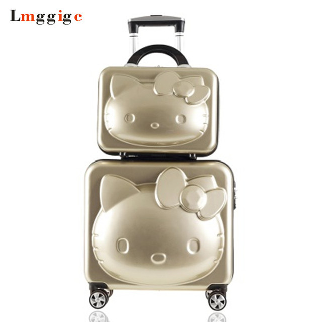 aac2cb8a8 Hello Kitty Suitcase Bag set, Children Rolling Luggage Box with , Kids Cart  with Wheel,16