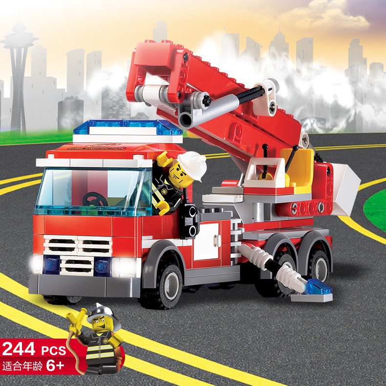 High Quality Fire Fighting Truck Building Blocks CITY Fire Educational Bricks Toys Firem ...
