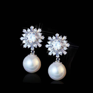 Pearl Rose CZ Earrings for Women Female Cubic Zirconia Wedding Jewelry boucle d'oreille femme