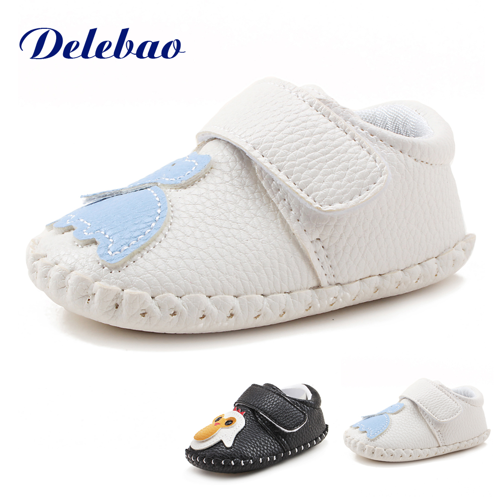 Delebao New Design Penguins And Elephants Patchwork Stripe Connected Blue and White Colors Soft Sole Baby Boy & Girl Shoes