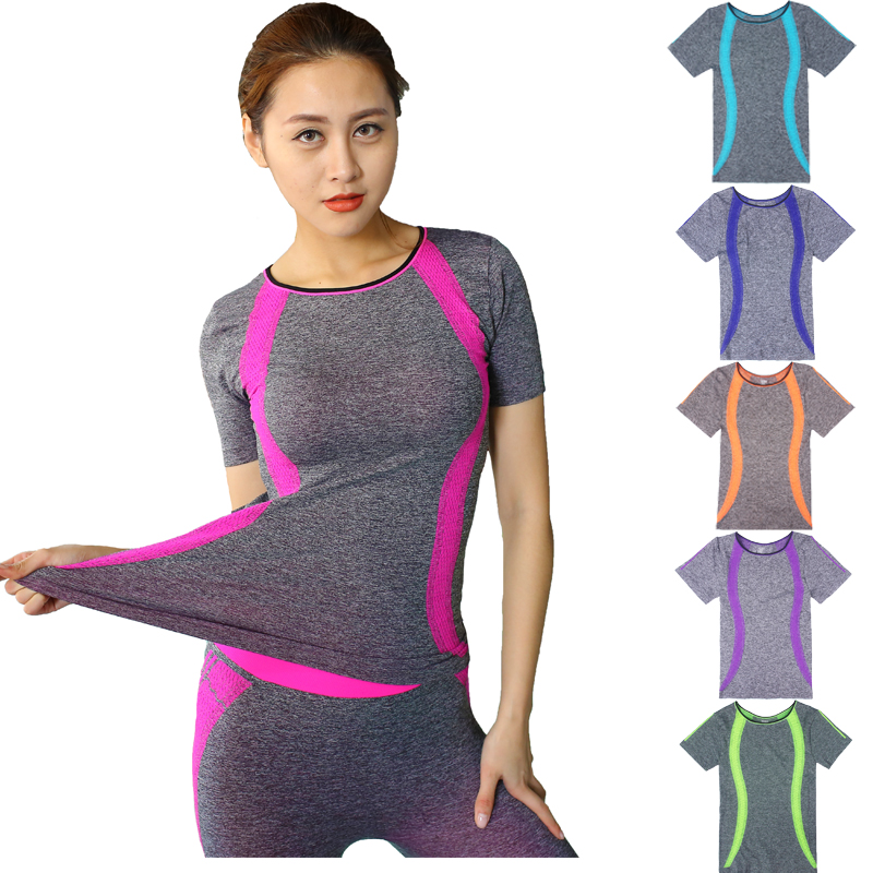New Style Yoga Gym Compression Tights Women's Sport T-shirts Dry Quick Running Short Sleeve T-shirts Fitness Clothes Tees tops