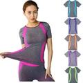 Nuevo estilo de yoga gimnasio compresión medias de las mujeres camisetas del deporte corriendo de secado rápido de manga corta camisetas de fitness ropa tes de las tapas