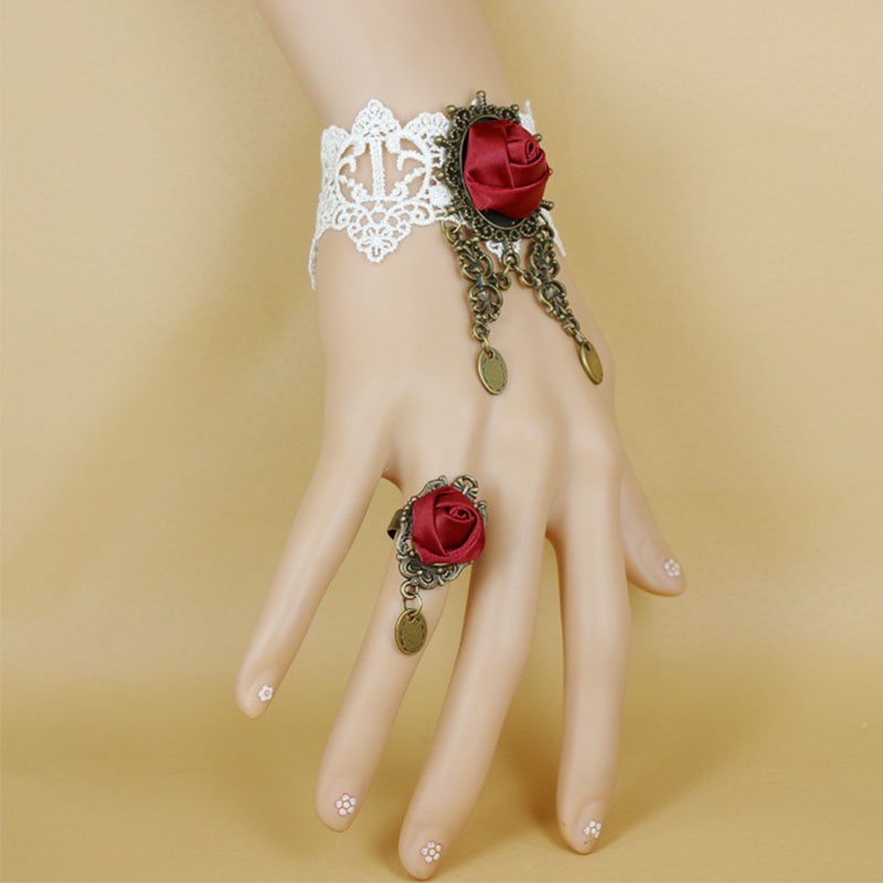 Gothic Steampunk Style Charm Bracelets For Woman Sexy Lace Handmade Braided Red Rose Wristbands Jewelry Party Gift Accessories
