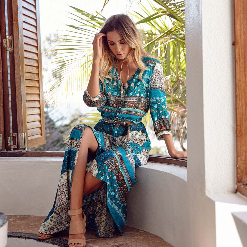 Bohemia Floral Print Women Long Dress Ladies Boho Botton Dress 2018 Fashion  Sexy Women Summer Maxi a62cd1044da5