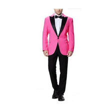 hot pink tuxedo for wedding groom wear slim fit custom made suits men dress 2017 fashion suit