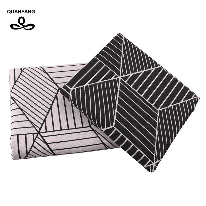 QUANFANG Geometry series Printed Cotton Linen Fabric For Patchwork Quilting Sewing DIY Sofa Table Cloth Furniture Half meter