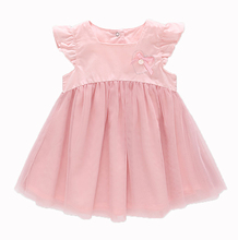 Free Shipping sh2018 summer newborn o-neck bow lace princess infant dress baby girls dress Honey Baby clothes ball gown 2color стоимость
