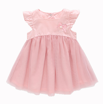 цена на Free Shipping sh2018 summer newborn o-neck bow lace princess infant dress baby girls dress Honey Baby clothes ball gown 2color