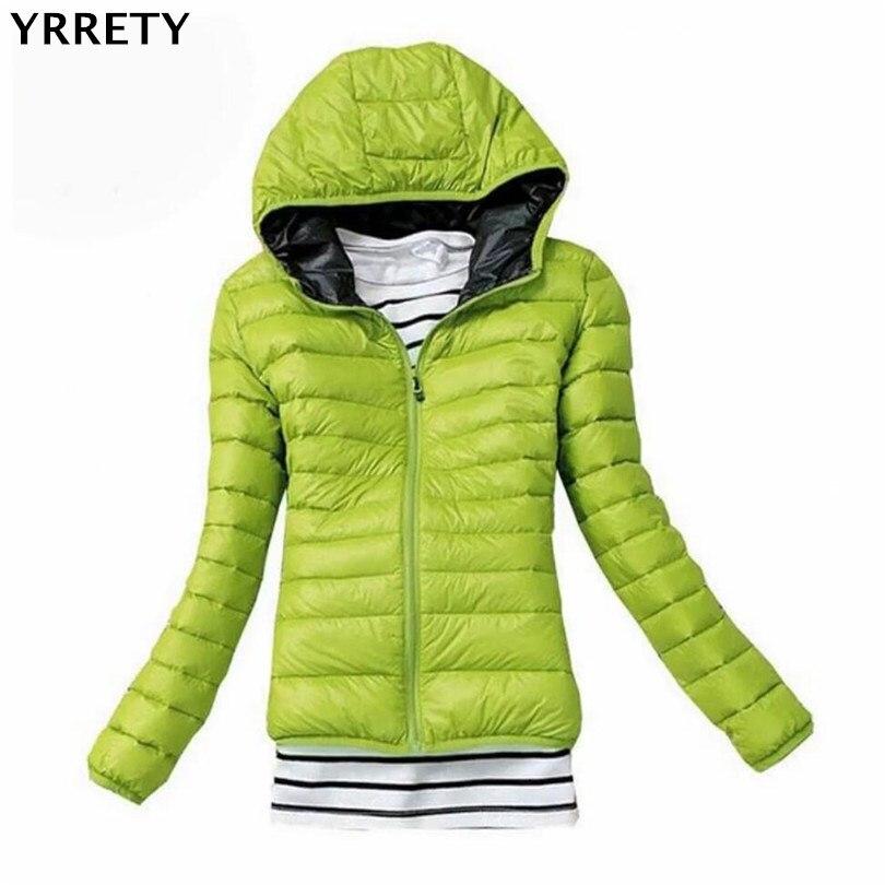 YRRETY Women Autumn Winter Coat Hooded Warm Coat Slim Plus Size Candy Color Cotton Padded   Basic     Jacket   Female   Jackets   Feminina