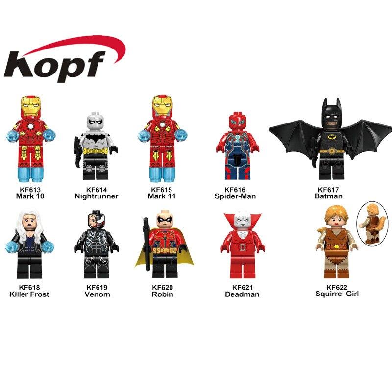 Single Sale Building Blocks Mark 10 Nightrunner Mark 11 Spider-Man Batman Killer Frost Figures Model Toys For Children KF6052