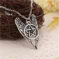 Supernatural Wings Star Charm Pendant Chian Necklace Antique Silver Plated Chain Choker Statement Necklace