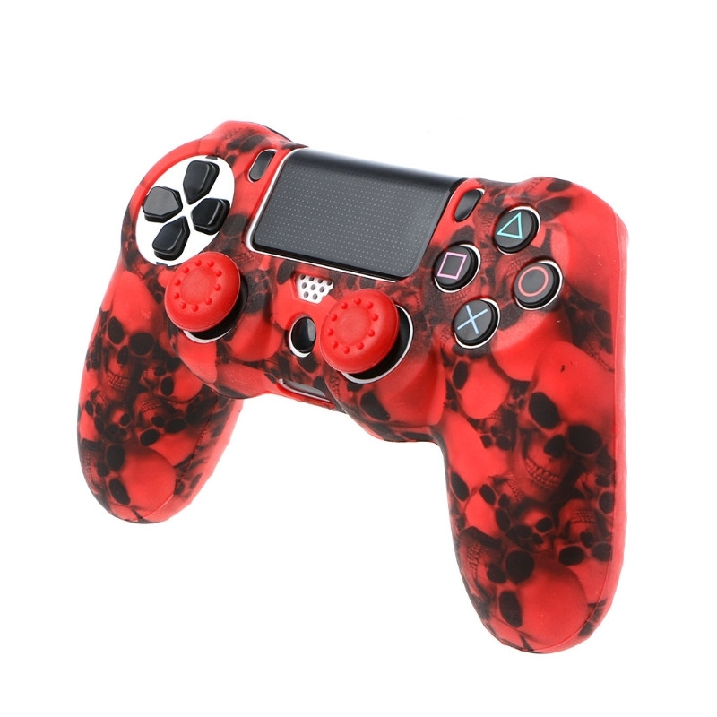 Silicone Gel Rubber Soft sleeve Skin Grip Cover Case+2 Caps For Playstation 4 PS4 Pro PS4 Slim Gamepad Protect Camouflage Camo