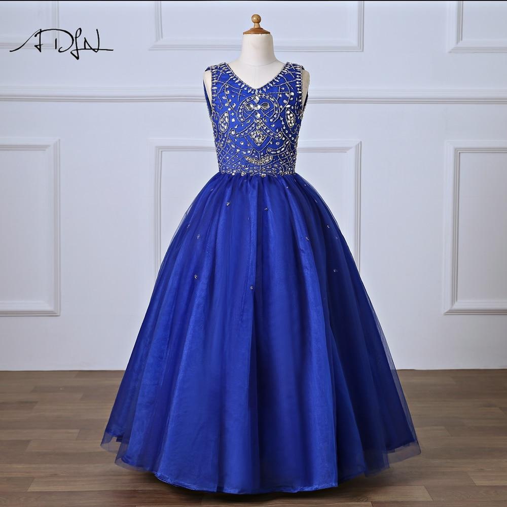 ADLN Royal Blue Evening Gown for Pageant V-neck Floor-length Heavily Beaded   Flower     Girl     Dresses   for Weddings Comunion Vestido