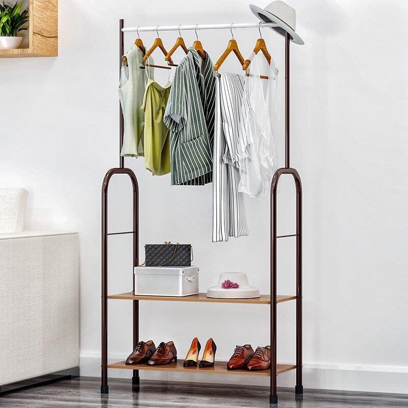 Fashion Coat Rack Clothes Rack Storage Shelf Iron Hanger Single Rod Drying  Rack Double Wood Shoe Rack Living Room Furniture
