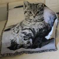 American style living room carpet sofa blanket cotton thread blanket phi blanket bed sheets gremial tassel cat