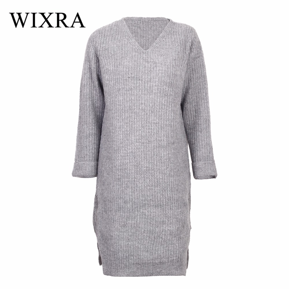 Wixra Warm and Charm New Women Sweater Dresses Autumn Winter Long Sleeve Knitted Thick Loose V-Neck Casual Dress tanworders women thick warm winter hats 2017 autumn new knitted beanies hat button ski caps gorro invierno