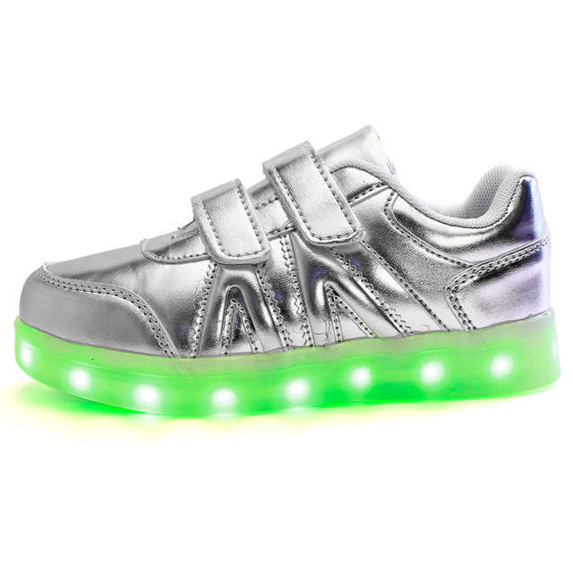 Hot Sale Kid shoes High Top LED Shoes for Kid White Black Glowing Light Up Flat Shoes Luminous Recharging Size 25-37