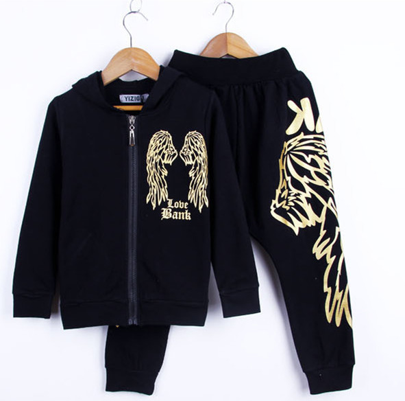 New  spring Autumn children's clothing set Costumes kids  suits  Letter Wing Hip Hop harem pants & sweatshirt twinset цены онлайн