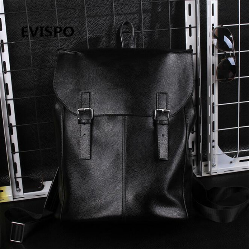 ФОТО High Quality Vintage Style PU Leather Men Backpacks For College Preppy Style School Backpacks Korean Casual Shoulder Bag