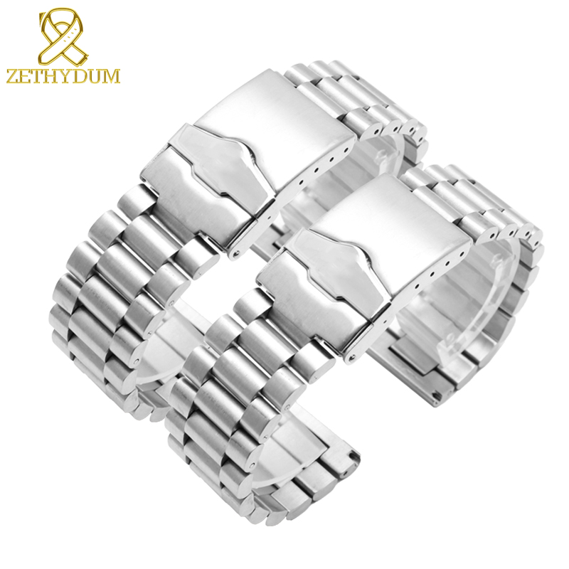 Solid stainless steel bracelet 20mm 22mm mens watches top brand luxury Smart watches band Silver mesh bracelet
