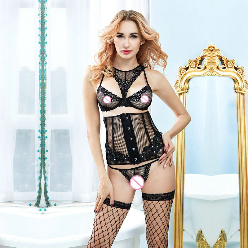 Women Sexy Lingerie Fishnet Bra Brief Waist Cincher Stockings Sexy Underwear Outfit Hot Erotic Lingerie Porno Sex Clothes