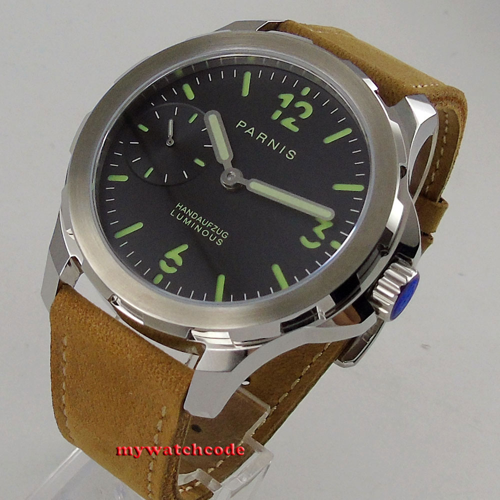 44mm parnis black dial luminous mark Sapphire glass 6497 hand Winding mens watch 44mm black sterile dial green marks relojes 6497 mens mechanical hand winding watch luminous armbanduhr cm164bk