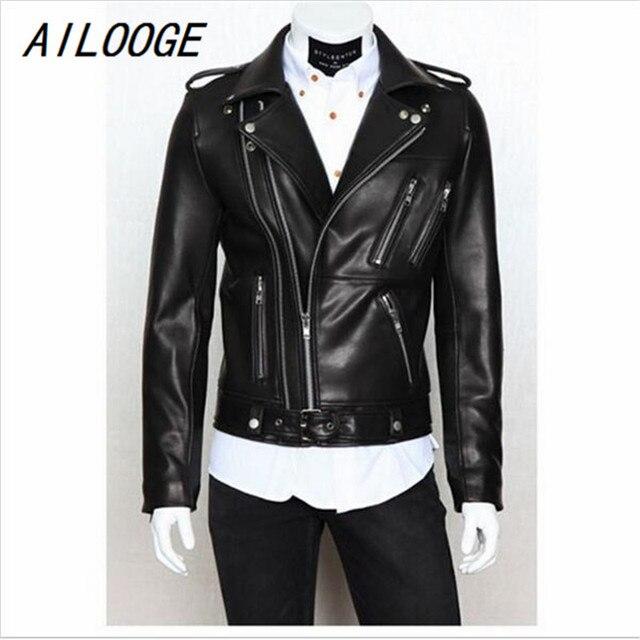 Ailooge Male Leather Jacket Pu Zipper Biker Jacket Leather Men S