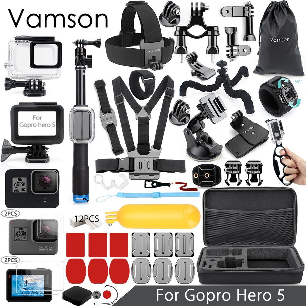 Vamson para Gopro hero 7 6 5 Kit de accesorios Super Set carcasa impermeable caso 3 monopod para ir pro hero 6 5 Vamson VS09