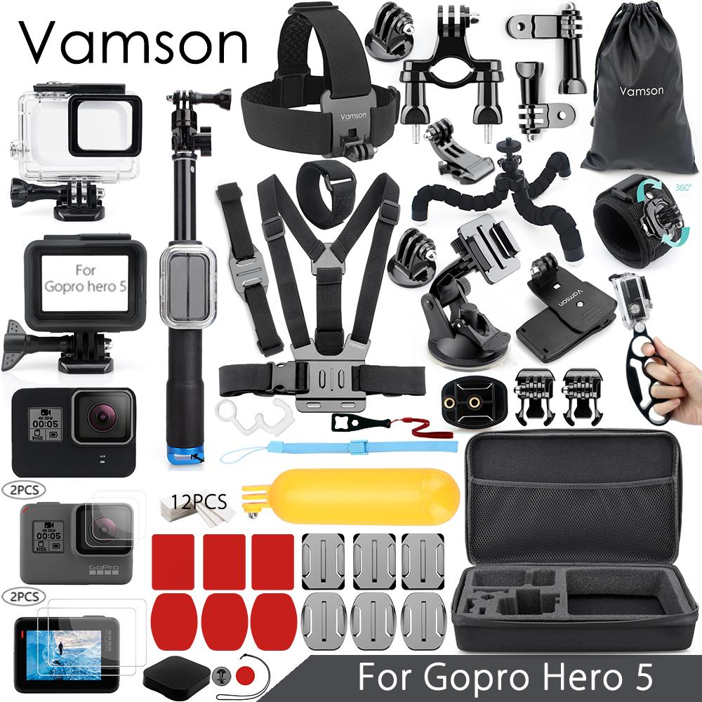 цена на Vamson for Gopro Hero 7 6 5 Accessories Kit Super Set Waterproof Housing case 3 way monopod for Go pro hero 6 5 Vamson VS09