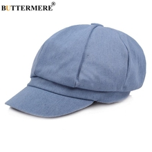 BUTTERMERE Newsboy Cap Women Denim Octagonal Baker Boy Beret Hat Female Spring Brand Cotton French Painter