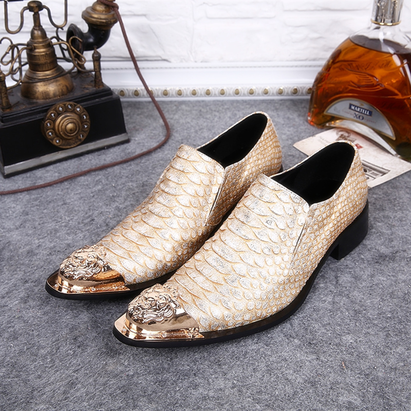 Height Increasing Leather Men Casual Shoes Iron Pointed Toe Nightclub Stage Bars Party Wedding Male Shoes Metal Chaussure Homme