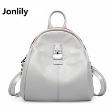 Jonlily 2017 New Genuine Leather Women Backpack College Style Cowhide Bag Travel Bag Real Leather Backpack Female bag SLI-273