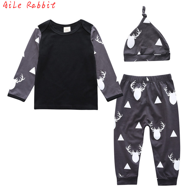 2018 New Arrival Cute Infant Baby Girl Boy Clothes Deer Tops T-shirt+Pants Leggings Hat 3pcs Outfits Kids Clothing Set 0-24M