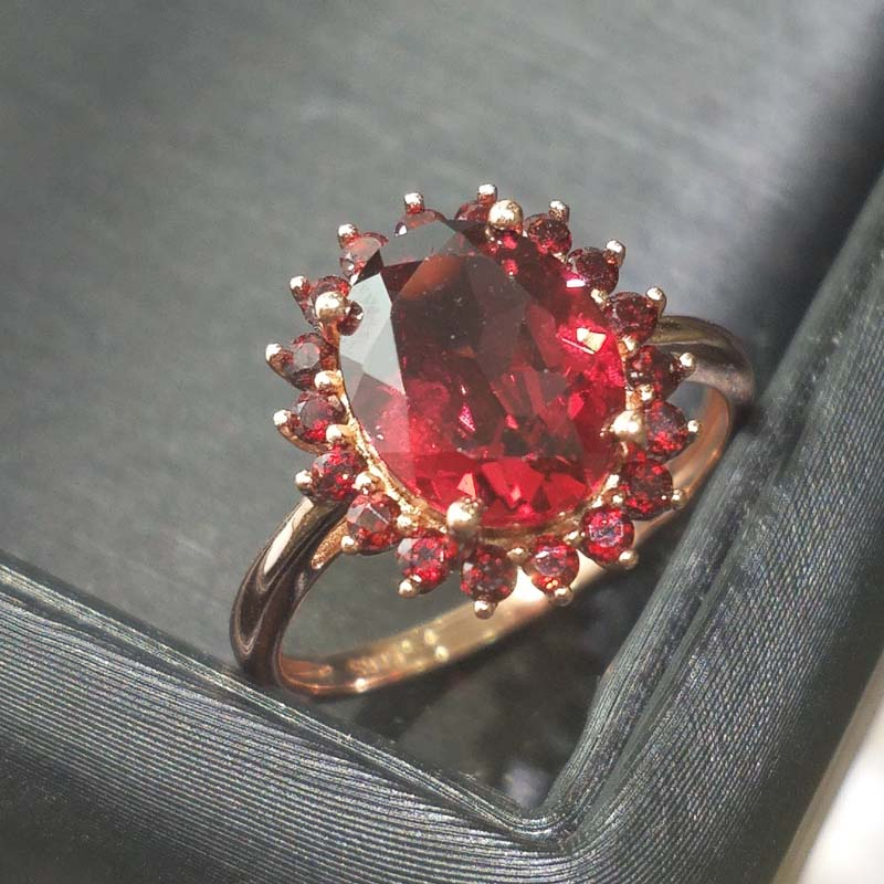 FLZB Fine jewelry ring natural garnet oval 8 10mm with 18pcs small natural garnets in 925