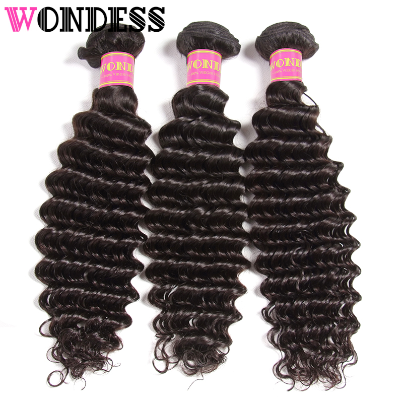 WONDESS HAIR Deep Wave Bundles Mongolian Hair 3 Bundles Deals Natural Color Virgin Hair 12-26inch Human Hair Weave Extensions