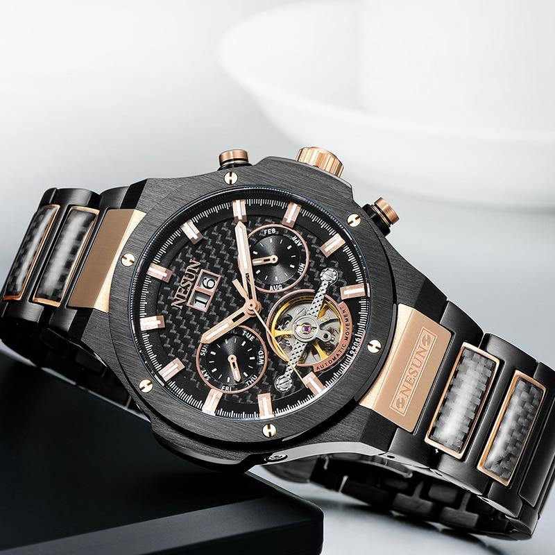 NESUN Creative Dress Men Tourbillon Automatic Mechanical Wristwatches Sapphire Waterproof Fashion Watch Clock Relogio Masculino