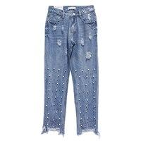 KLV Stylowe Linkę Haftowane Washed Denim Jeans Zgrywanie Bielonej Ołówek Spodnie Flary Zadziorów Hem Retro Kobiet Spodnie