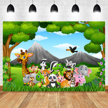 NeoBack Woodland Happy Birthday Photo Backdrop Safari Zoo Animals Forest Photography Background Vinyl Party Backdrops