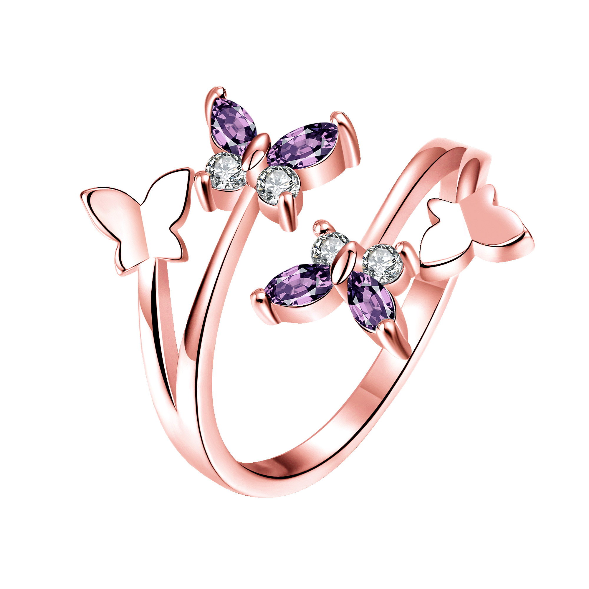 Women Rings 2017 New Romantic Purple Butterfly Rose Gold Color