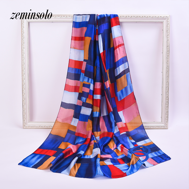 Retro Ladies Silk   Scarf     Scarves   For Women Bandana Shawls Fashion Women Plaid Printed Hijab   Scarf   Large Soft Satin   Scarves     Wraps