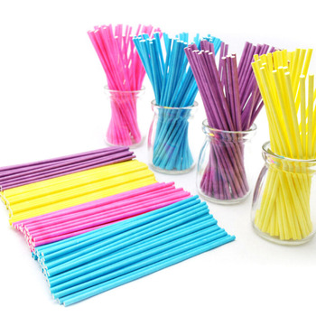 100 Pcs/lot 10CM Papen Cake Pop Sticks for Lollypop Lollipop Colorful Lollipop Stick Candy Chocolate Sugar Cudgel Pole Handle image