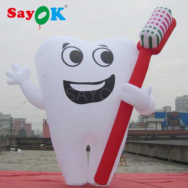 Dent gonflable géante de 6 m/20ft avec la brosse à dents gonflable de ventilateur pour pour la décoration de publicité de santé de dentiste d'hôpital