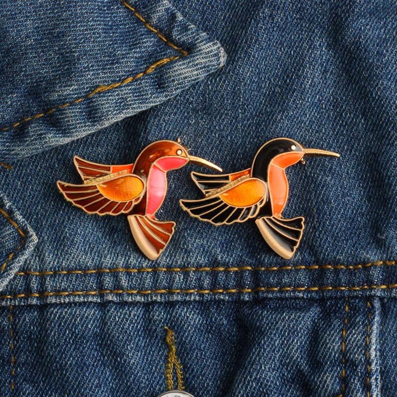 Panas Klasik Enamel Kartun Hewan Bros untuk Wanita Logam Puncak Burung Perhiasan Wanita Mantel Lencana Pria Lapel Pin Aksesoris