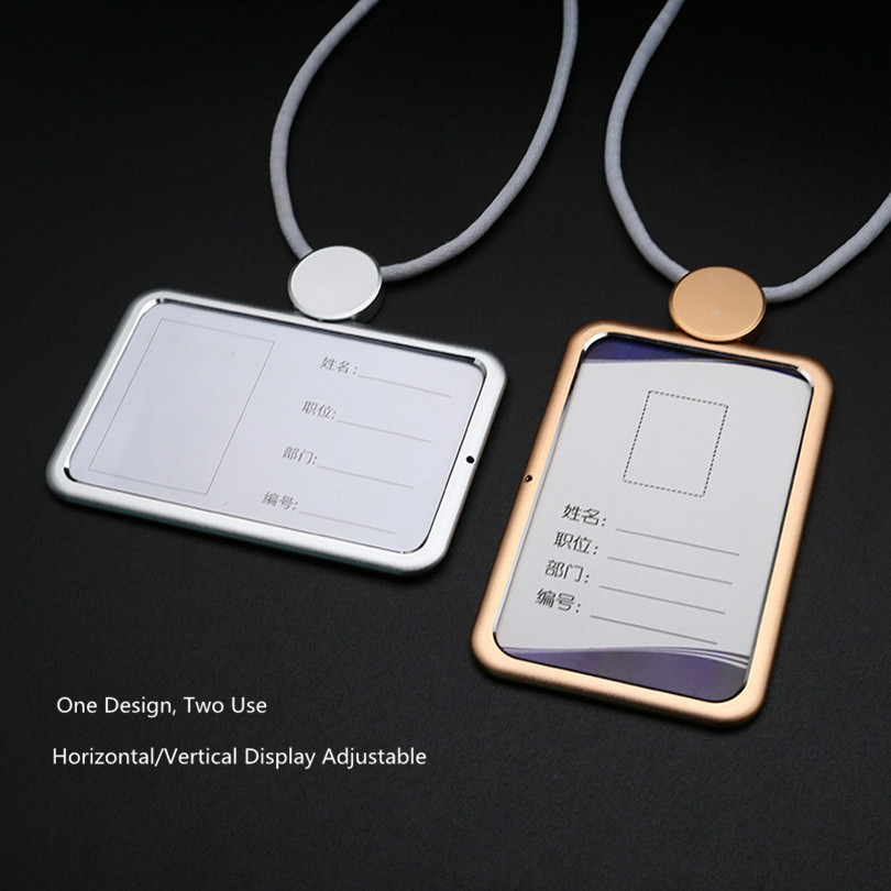 Fashion Style Metal Horizontal And Vertical Two Use Name Badge ID Card Holder Work Pass Card
