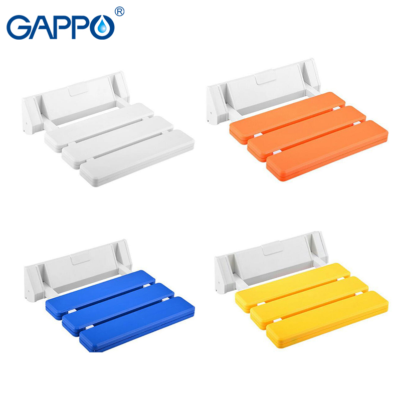 Gappo Wall Mounted Shower Seats White Wall Mounted Shower Chair Abs Plastic And Aluminium Alloy Bath Bench Wall Bathroom Safety & Accessories Home Improvement