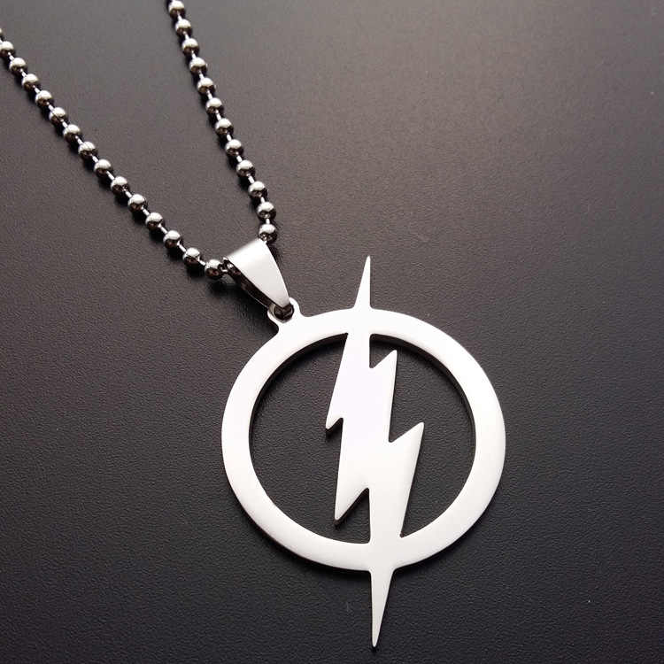 wholesale fashion Stainless Steel Superhero silver color The Flash Lightning Symbol pendant Beads Chain Necklace statement gift
