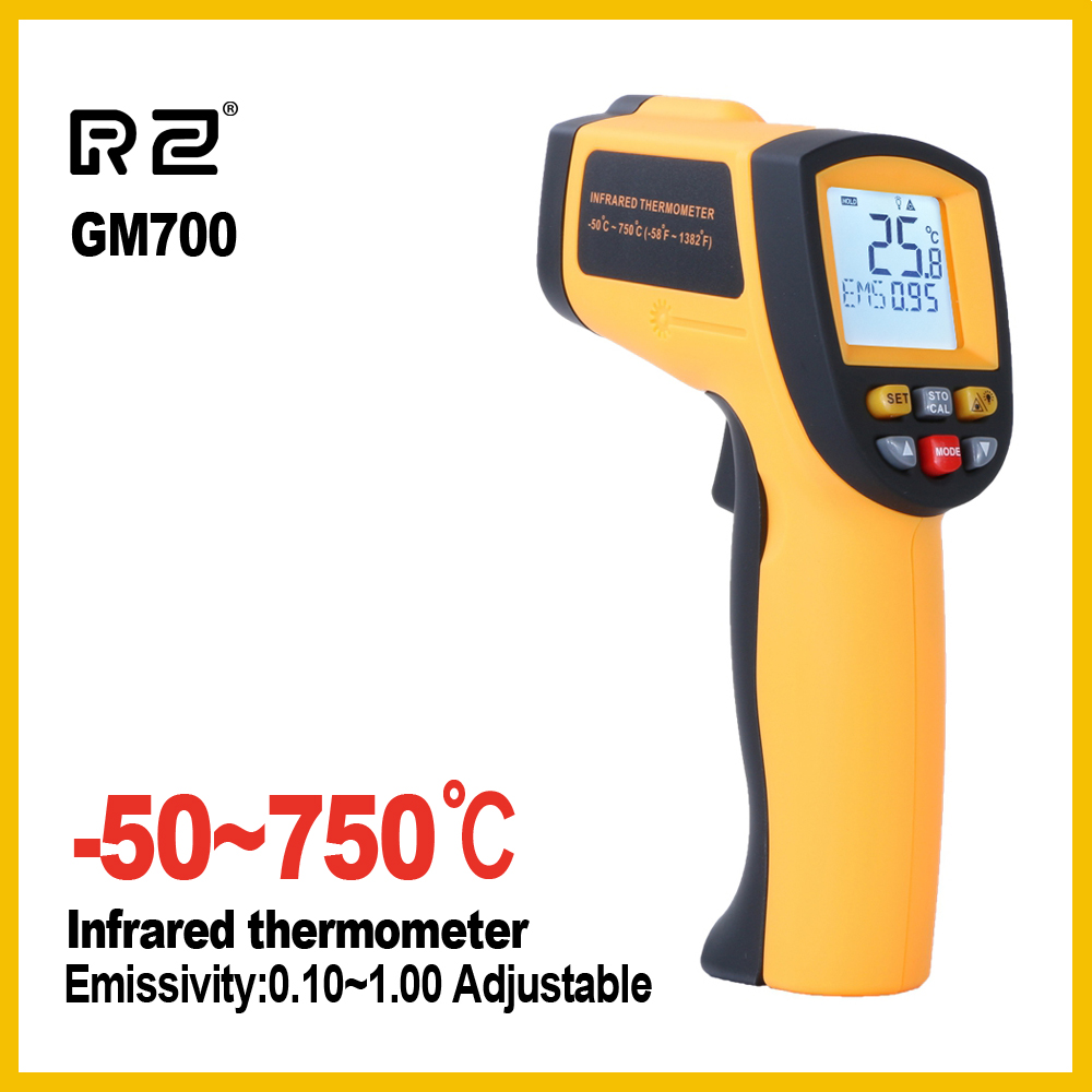 GM700 Non-Contact 12:1 LCD display IR Infrared Digital Temperature Gun Thermometer -50~700C (-58~1292F) 0.1~1.00 adjustable цена