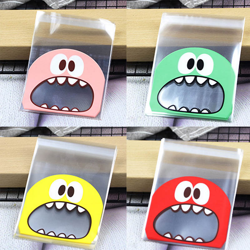 Packaging Gift Bag Party Wedding Favors 100Pcs Little Monster Cartoon 10*10CM Candy Cookie Bags 7*7CM Self Adhesive