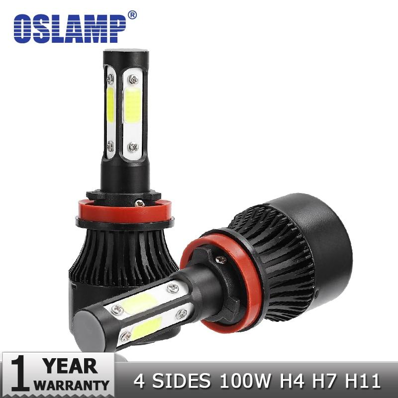 Oslamp 4 lado lúmenes COB 100 W 10000lm H4 Hola lo H7 H11 9005 9006 coche LED bombillas de los faros auto Led faro LED luz 12 V 24 V